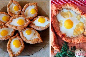 Творожные лодочки с перепелиными яйцами